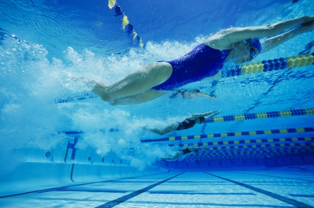 aligning: Swimmers Racing in Pool