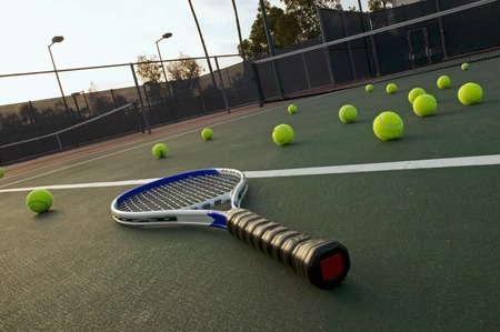 Tennis Racket and Balls on Court Stock Photo - 5436254