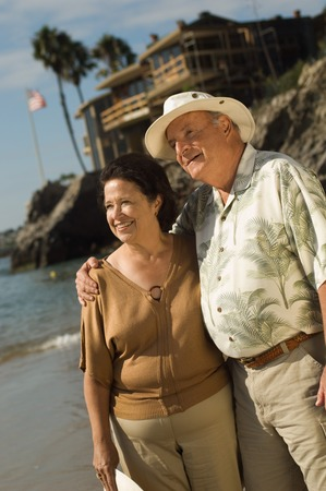 Senior Couple Looking at the Ocean Stock Photo - 5436272