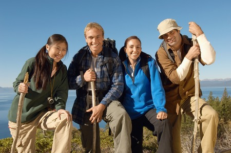 ethnically diverse: Friends Hiking LANG_EVOIMAGES