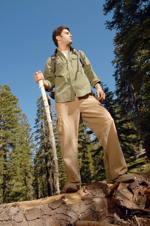 Hiker on Log Stock Photo - 5438007