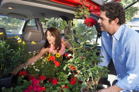 Couple Loading Potted Plants into Trunk of Car Stock Photo - 5438091