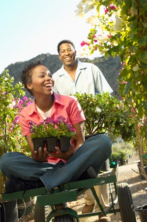 Couple Choosing Plants at a Nursery Stock Photo - 5438103