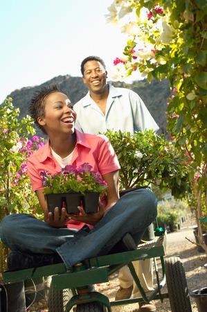 Couple Choosing Plants at a Nursery Stock Photo - 5438103