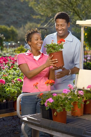 Couple Choosing Plants at a Nursery Stock Photo - 5438104