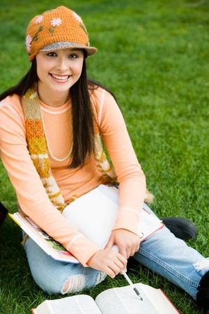 teenaged girls: Student Studying Outside