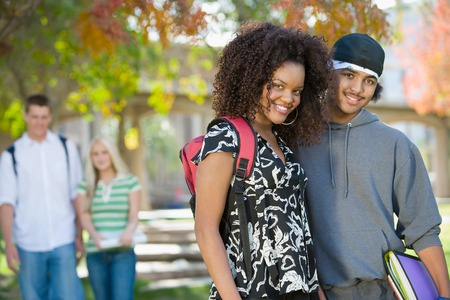 Young Couples Hanging Out on Campus Stock Photo - 5438136