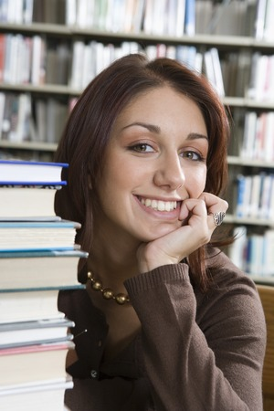 Female University student in library, portrait Stock Photo - 5404535