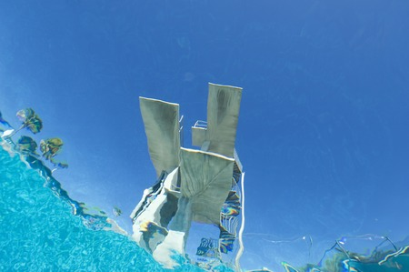 Diving board, underwater view Stock Photo - 5404456