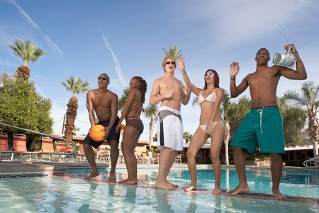 Young People Dancing at a Pool Party Stock Photo - 5404426