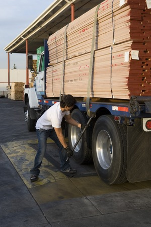 Mid-adult man adjusting strapping  of truck loaded with wood Stock Photo - 5449552