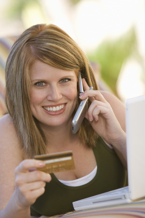 Woman Making Credit Card Purchase Stock Photo - 5449703