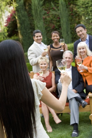 Friends toasting outdoors Stock Photo - 5449950
