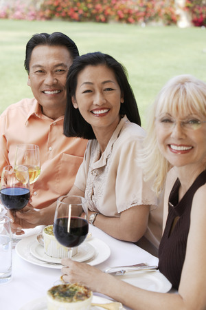 racially diverse: Friends Enjoying Garden Party Together LANG_EVOIMAGES