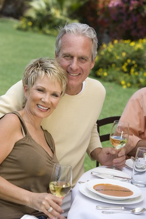 Couple drinking wine outdoors, portrait Stock Photo - 5450001