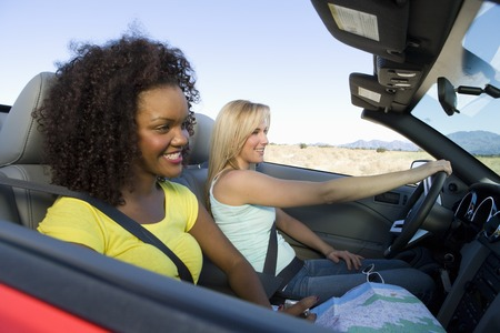 Portrait of two girlfriends in car Stock Photo - 5459996