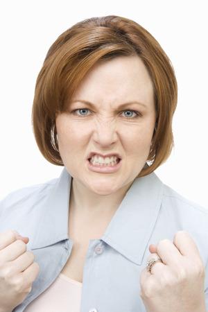 grimacing: Portrait of mature woman, grimacing