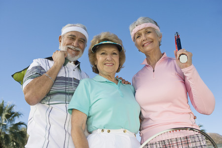 Three tennis players, portrait Stock Photo - 5470125