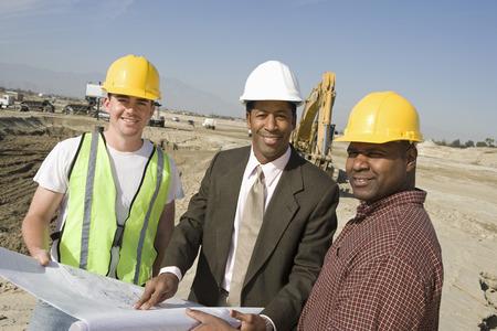 測量、敷地では、建設労働者の肖像画