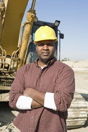 サイトで、建設労働者の肖像画