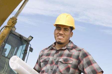 建設労働者保持青写真、肖像画