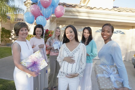 Group of Friends Heading to a Baby Shower Stock Photo - 5475209