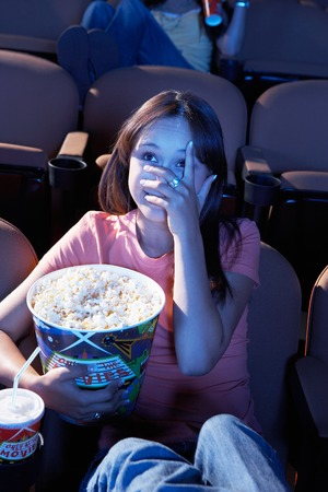 Woman Watching Horror Movie Stock Photo - 5475229