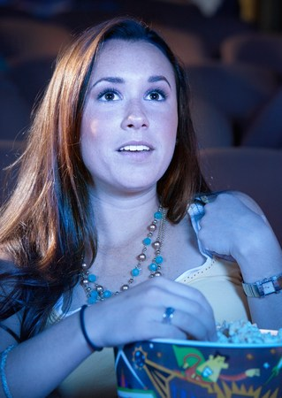 Woman Watching Movie Stock Photo - 5475230
