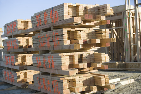 Building construction and Stacks of Planks Stock Photo - 5475479