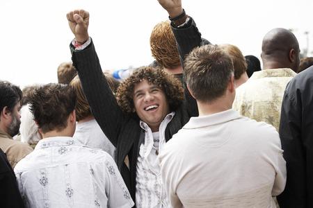 Man Raising His Fists at Rally Stock Photo - 5475635