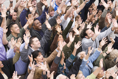 Crowd with arms raised Stock Photo - 5475642