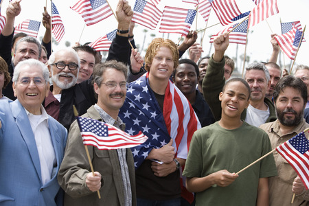 Crowd holding American flags Stock Photo - 5475666
