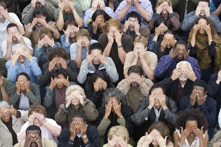Crowd covering eyes Stock Photo - 5475689