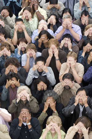 Crowd covering eyes Stock Photo - 5475690