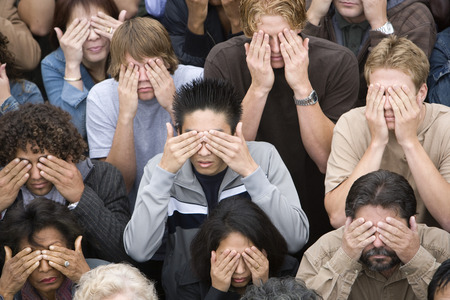 Crowd covering eyes Stock Photo - 5475691