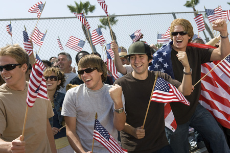 public demonstration: Crowd holding up American flags