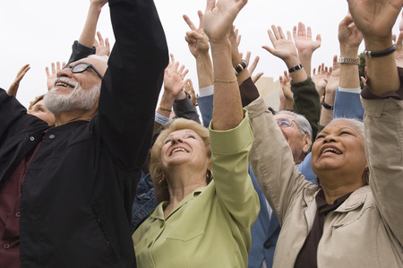 Crowd of seniors celebrating  Stock Photo - 5475715