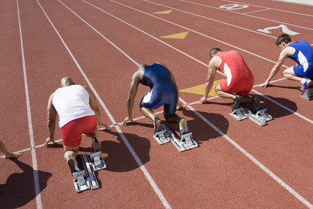 Athletes ready to run, high angle view Stock Photo - 5475955