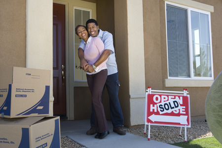 Couple moving into new house Stock Photo - 5476117