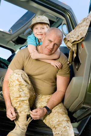 Military Dad Preparing to Ship Out Stock Photo - 5476412
