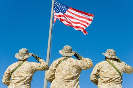 aligning: Soldiers Saluting Flag