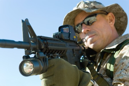 outside shooting: Soldier Aiming Rifle