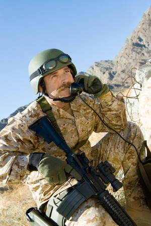 Soldier Using Field Phone Stock Photo - 5476419