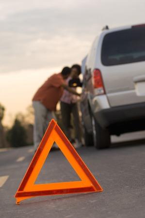 signage outdoor: Warning Sign Set on Road