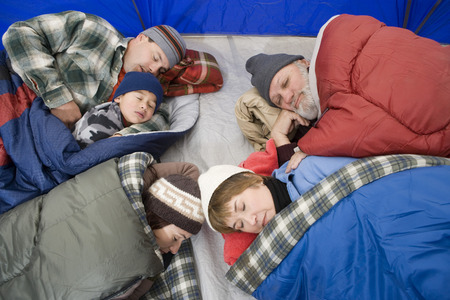 Family sleeping in tent Stock Photo - 5478326