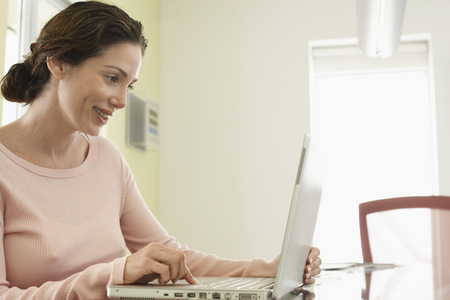 fortysomething: Businesswoman Using Laptop Computer LANG_EVOIMAGES
