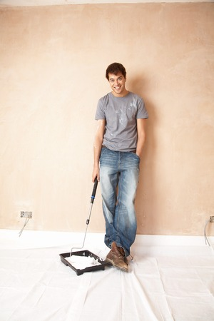 Man Preparing to Paint Room Stock Photo