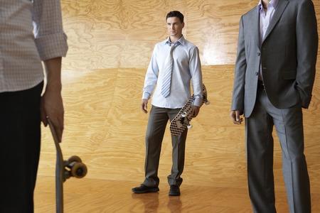 halfpipe: Young Businessmen Standing in Halfpipe