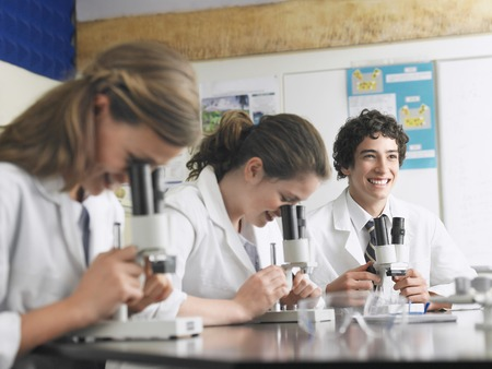 High School Students Using Microscopes Stock Photo - 5487589