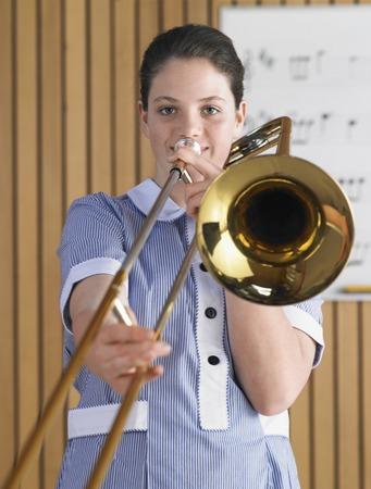 High School Student Practicing Trombone Stock Photo - 5487604